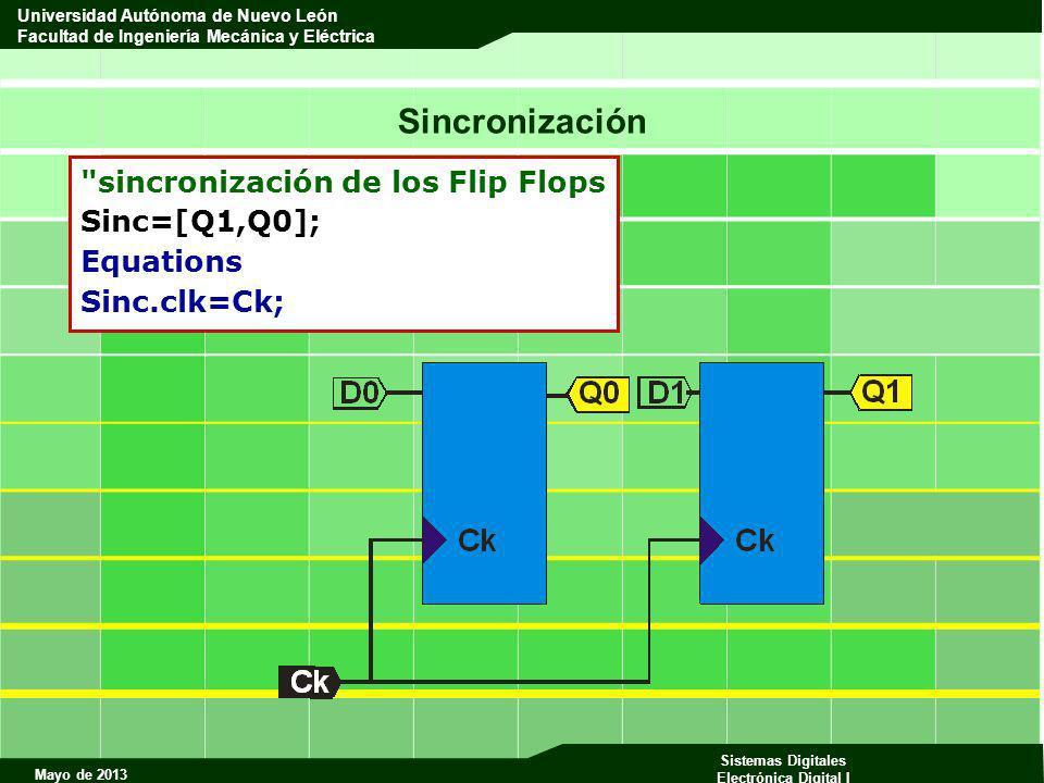 Sincronización sincronización de los Flip Flops Sinc=[Q1,Q0];